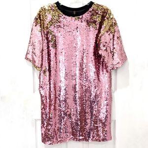 Ragyard Pink and Gold Flip Sequin Shirt Dress sz S